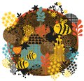 Bees and flowers vector illustration Stock Photography