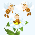 Bees funny collect nectar vector illustration Royalty Free Stock Photography