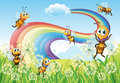 Bees at the hilltop and a rainbow in the sky illustration of Stock Photo