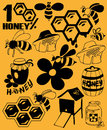 Bees and honey preview icon black beekeeping attributes Stock Image