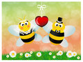 Bees in love illustration of two Royalty Free Stock Photography