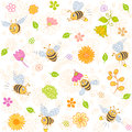 Bees seamless Stock Photos