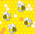 Bees seamless pattern Royalty Free Stock Photo