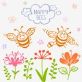 Bees two vector illustration silhouette of funny and cute cartoon Royalty Free Stock Photo