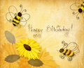 Bees wishing happy birthday Stock Image