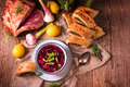 Beet green soup with pastries Royalty Free Stock Photo