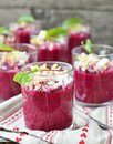 Beet root verrine with eggs Stock Images