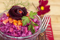 Beet salad with bell peppe pepper rice garlic and parsley Royalty Free Stock Images