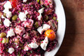 Beet  salad with quinoa and chicken. A protein rich, healthy meal Royalty Free Stock Photo