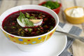 Beet soup with egg and cucumber Stock Photo