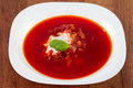 Beet soup in plate white Royalty Free Stock Photography