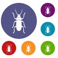 Beetle bug icons set