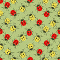 Beetle ladybug seamless pattern, insects vector background. Red and yellow speckled bugs on a green . For fabric design, wallpaper Royalty Free Stock Photo