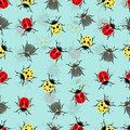 Beetle ladybug seamless pattern, insects vector background. Red and yellow speckled bugs  striped  on a blue . For fabric design, Royalty Free Stock Photo