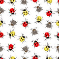 Beetle ladybug seamless pattern, insects vector background. Red and yellow speckled bugs  striped  on a white . For fabric design, Royalty Free Stock Photo