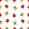Beetle ladybug seamless pattern, insects vector background. Red and yellow speckled bugs on a white . For fabric design, wallpaper Royalty Free Stock Photo