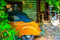 Beetle parked in cabin home arkansas the lush ozark mountains hidden and shaded from even the sun Royalty Free Stock Image
