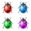 Beetle vector icons set of multicolored fictional beetles Stock Photos