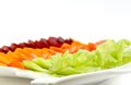Beetroot carrot tomato lettuce salad green healthy with and Stock Photo