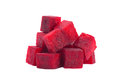 Beetroot cube slice closeup isolated on white background Royalty Free Stock Photos
