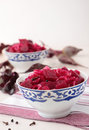 Beetroot marinated with onions in bowls two slices of pickled beets Royalty Free Stock Image