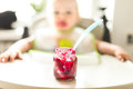 Beetroot puree for babies Royalty Free Stock Photo