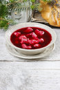 Beetroot red borsch with polish dumplings uszka traditional christmas eve in poland selective focus copy space Royalty Free Stock Photos