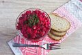 Beetroot salad, bread and fork Stock Image
