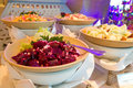 Beetroot salad on buffet restaurant table Stock Images