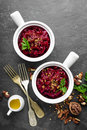 Beetroot salad with nuts, beet Royalty Free Stock Photo