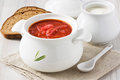 Beetroot soup borscht red with sour cream in white bowl Stock Photos