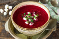 Beetroot soup with feta cheese and fresh thyme Royalty Free Stock Photo