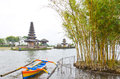 Befog lake and Pura Ulun Danu Stock Photos