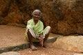 Beggar in the park an elderly woman begs of stones india tamil nadu mahabalipuram Stock Image