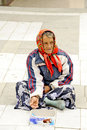 A beggar woman begging on a pedestrian street in prilep macedonia may may th Royalty Free Stock Image