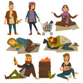 Beggars and bum or vagrant homeless people vector flat isolated icons