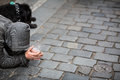 Begger on the street city stree Stock Photography