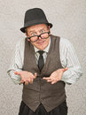 Begging businessman single in hat and eyeglasses with open hands Royalty Free Stock Image