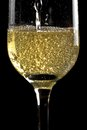 Begin filling a flute of champagne with golden bubbles on black background Stock Photo