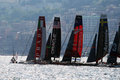 Begin regatta the start of the america s cup world series of naples in italy april Royalty Free Stock Photos