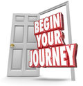 Begin Your Journey 3d Words Open Door Start Moving Now Royalty Free Stock Photo