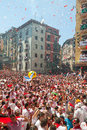 Begining of san fermin feast pamplona spain july in july in pamplona spain crowd people at ayuntamiento square Royalty Free Stock Photos
