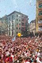 Begining of san fermin feast pamplona spain july in july in pamplona spain happy crowd people in ayuntamiento square Royalty Free Stock Images