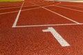 The beginning of the athletics track start Stock Image