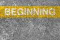 Beginning line yellow is on the asphalt road Royalty Free Stock Photography