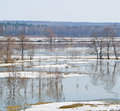 Beginning of spring flood river sukhodrev kaluga region russia Royalty Free Stock Photography