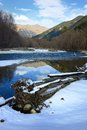 Beginning winter this is colorful view in caucasus mountains in Royalty Free Stock Images