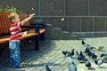 Behandla som ett barn fågelpojken som matar little fyrkantig town Royaltyfri Fotografi
