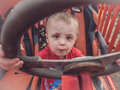 Behind the wheel Royalty Free Stock Photo