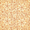 Beige abstract doodle flowers seamless pattern this is file of eps format Royalty Free Stock Image